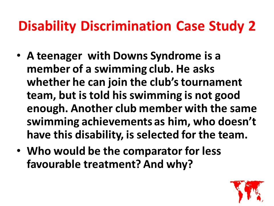 an analysis of disability discrimination act What is disability discrimination the disability discrimination act 1995  described a disabled person as someone with a physical or mental impairment  which.