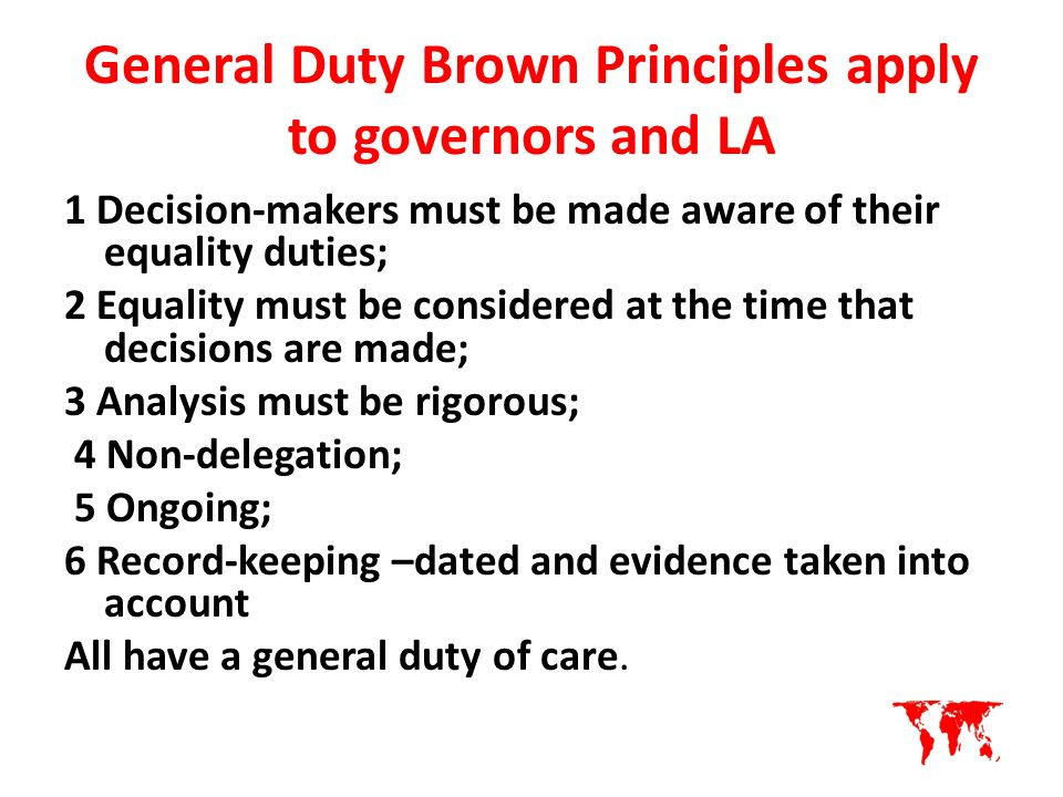 Principles of implementing duty of care