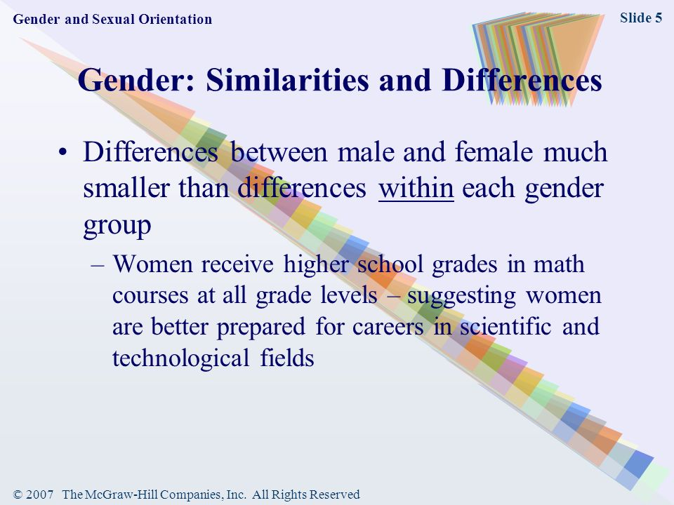 differences in sex gender and sexual orientation This world conflates biology, gender expression, gender identity and sexual orientation, relegating people to rigid categories: male or female, gay or straight schools have a history of reinforcing binary perceptions of sex and gender.