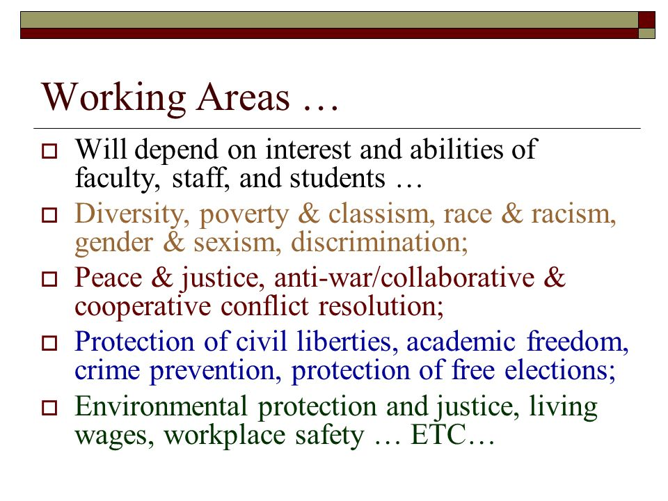 Working Areas … Will depend on interest and abilities of faculty, staff, and students …