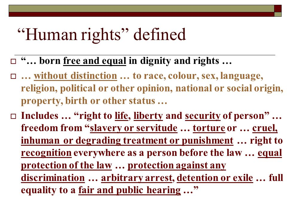 Human rights defined