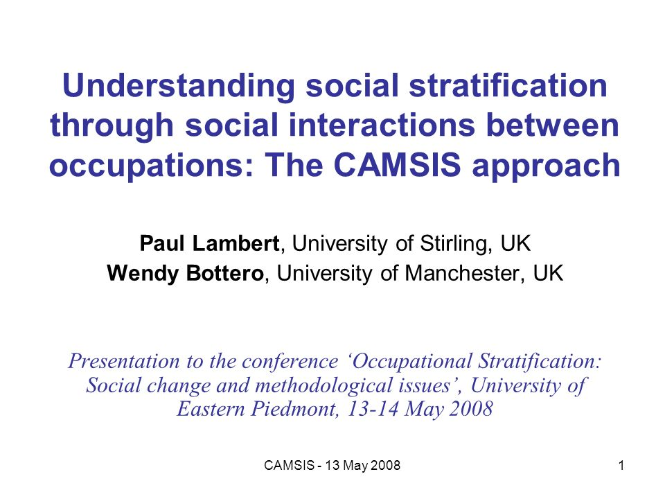 Understanding social stratification through social interactions between occupations: The CAMSIS approach