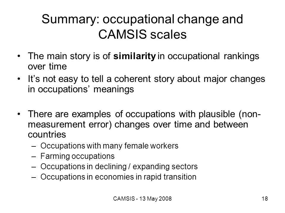 Summary: occupational change and CAMSIS scales