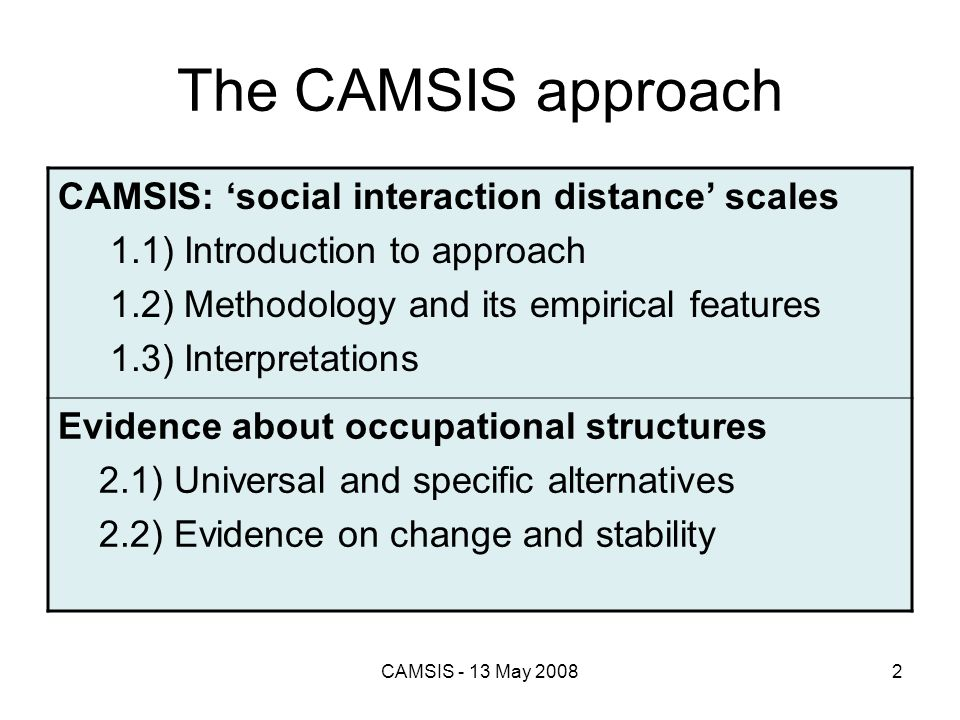 The CAMSIS approach CAMSIS: 'social interaction distance' scales