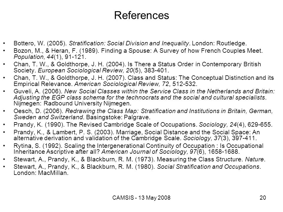References Bottero, W. (2005). Stratification: Social Division and Inequality. London: Routledge.