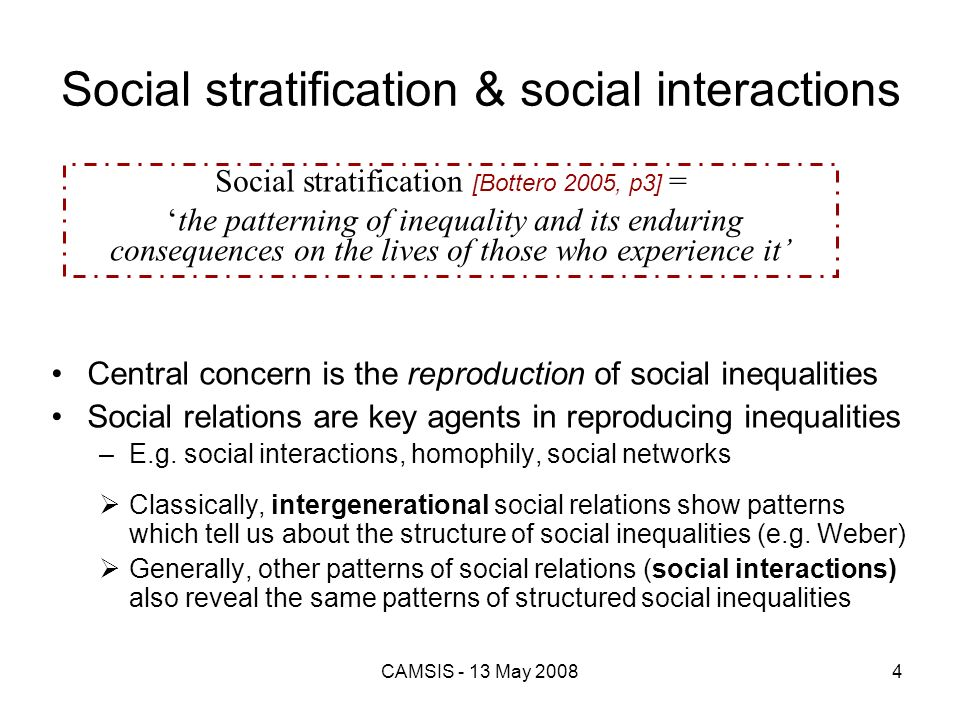 Social stratification & social interactions
