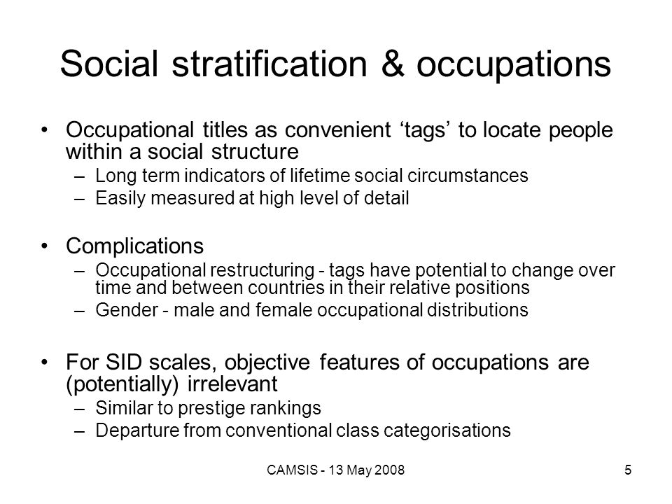 Social stratification & occupations