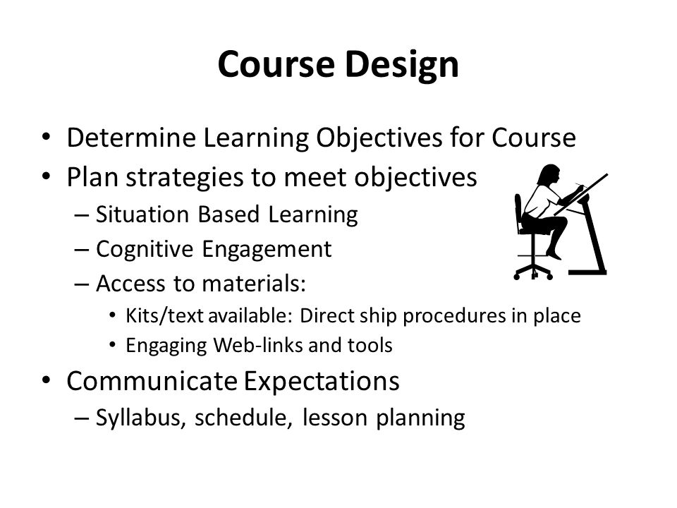 Course Design Determine Learning Objectives for Course
