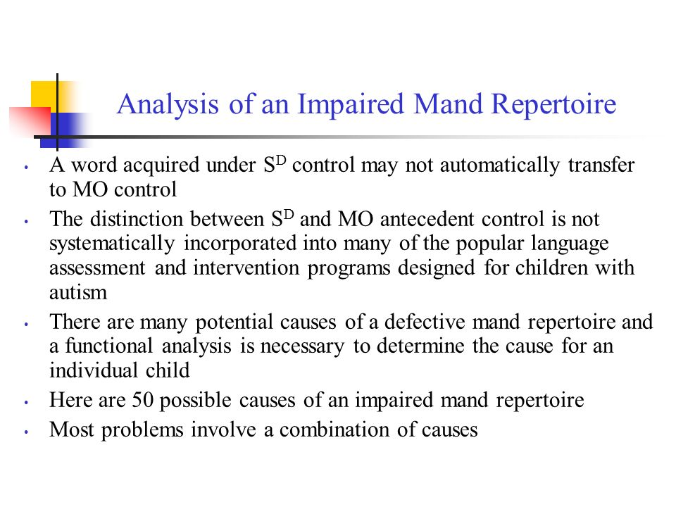 Analysis of an Impaired Mand Repertoire