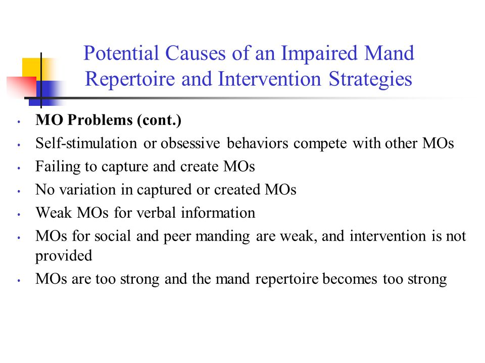 Potential Causes of an Impaired Mand Repertoire and Intervention Strategies