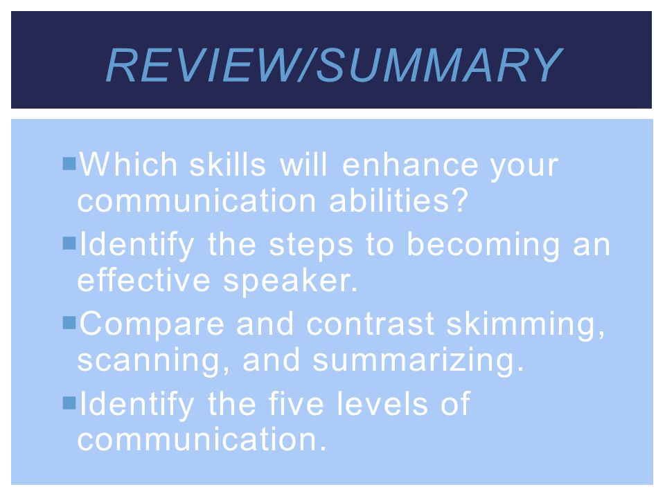 Review/Summary Which skills will enhance your communication abilities