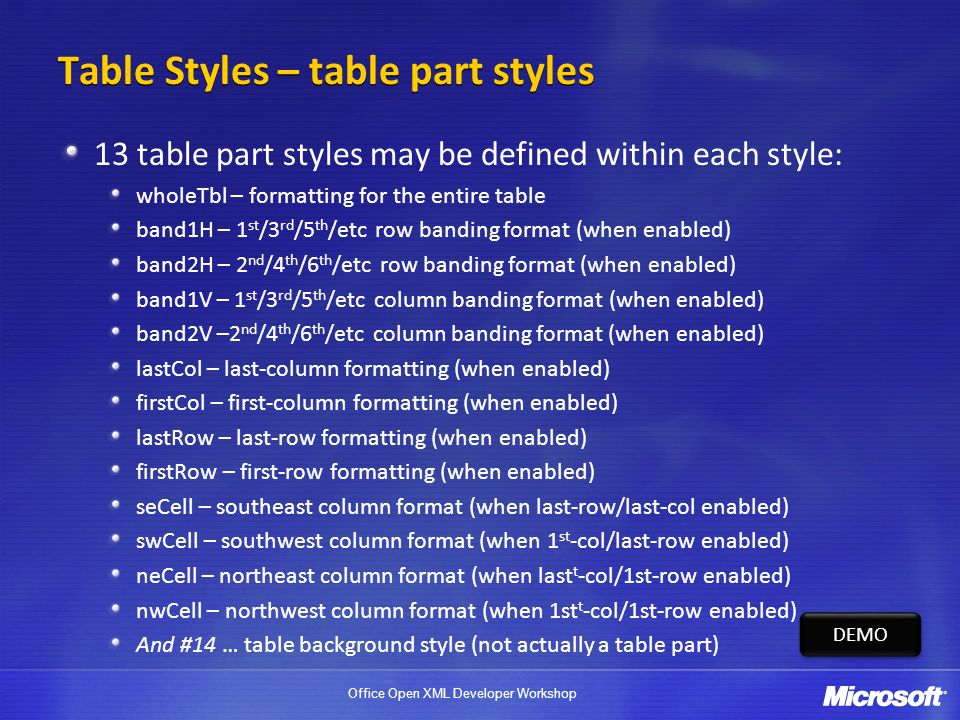 Table Styles – table part styles