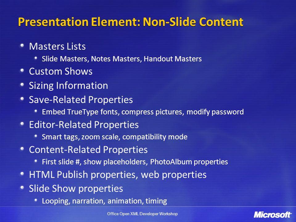 Presentation Element: Non-Slide Content