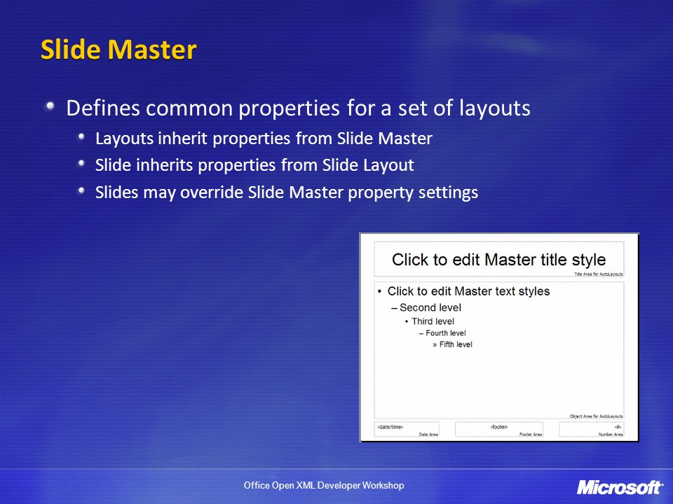 Slide Master Defines common properties for a set of layouts
