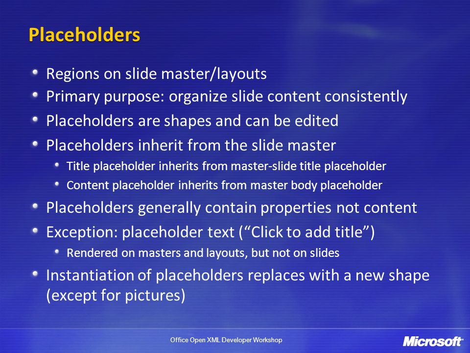 Placeholders Regions on slide master/layouts