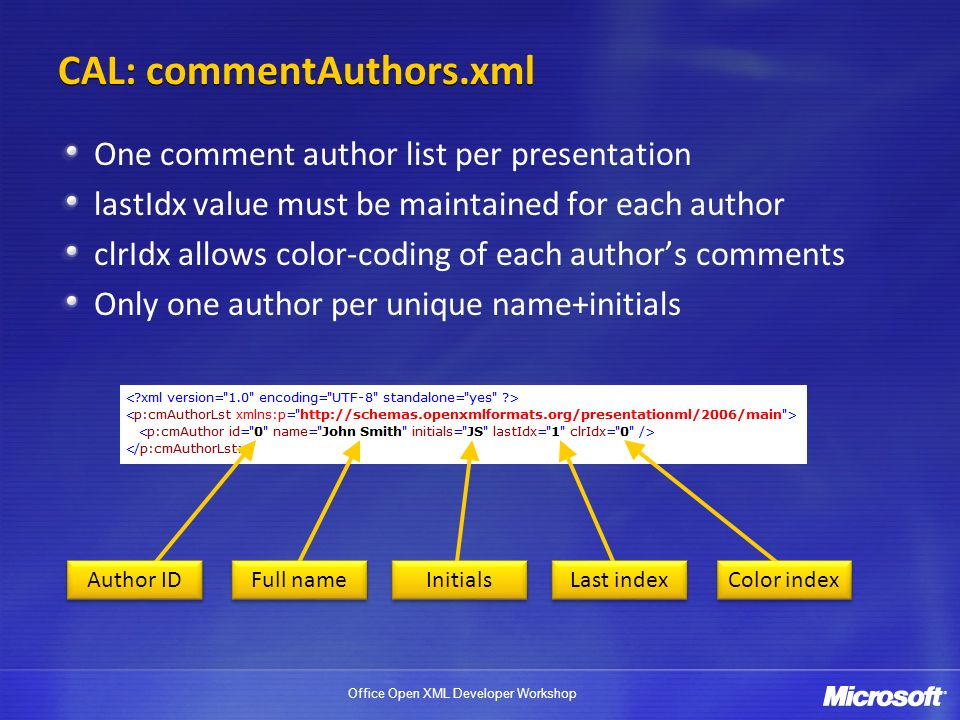 CAL: commentAuthors.xml