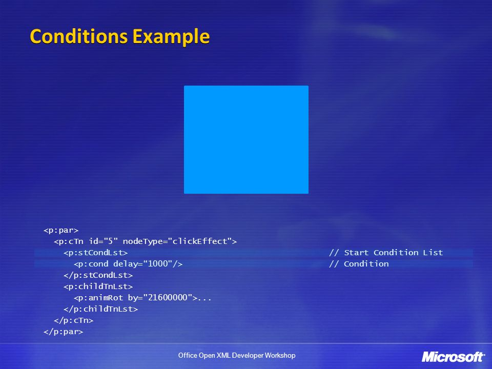 Conditions Example <p:par>
