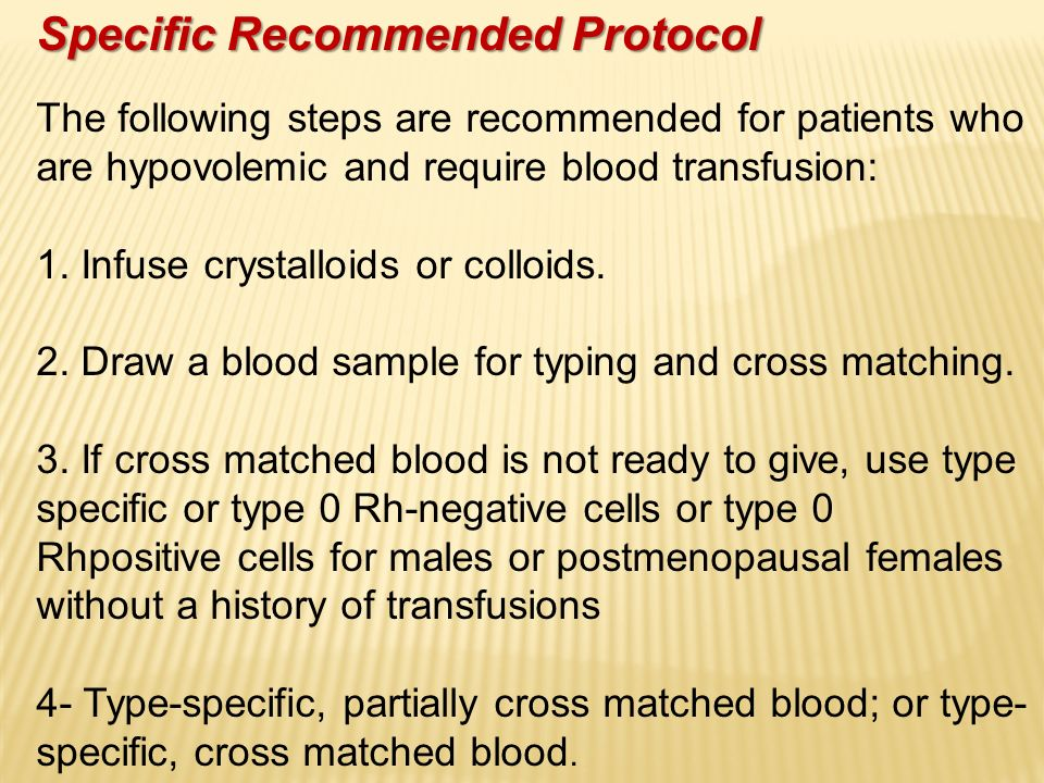 Specific Recommended Protocol