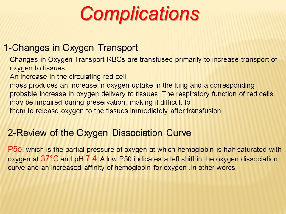 Complications 1-Changes in Oxygen Transport