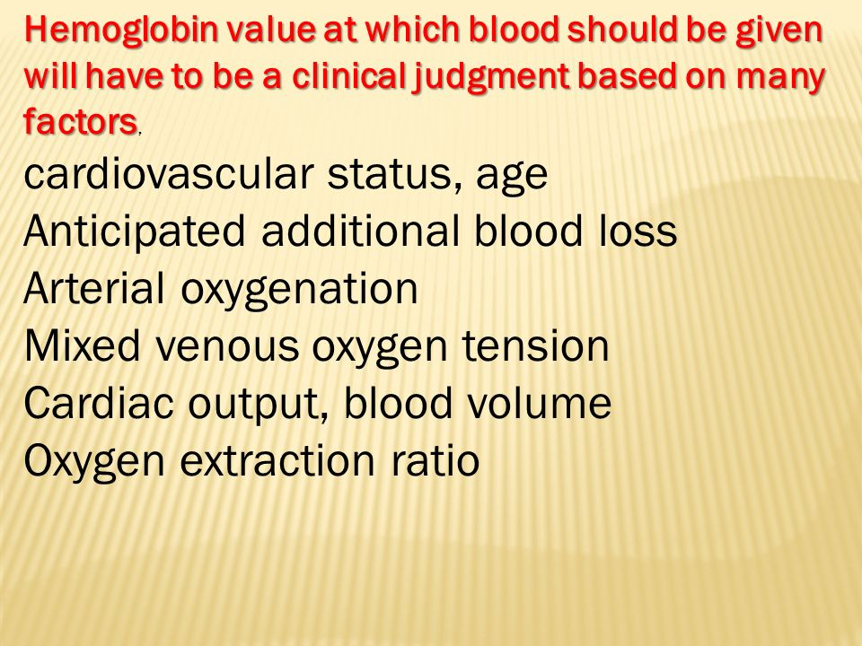 cardiovascular status, age Anticipated additional blood loss