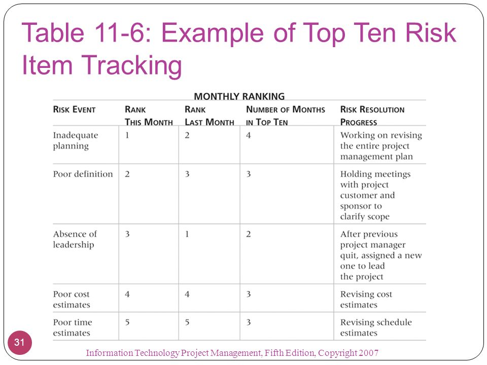 Table 11-6: Example of Top Ten Risk Item Tracking