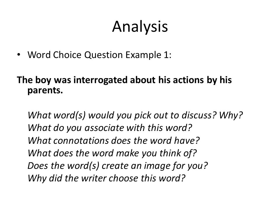 3 Analysis Word Choice Question Example ...