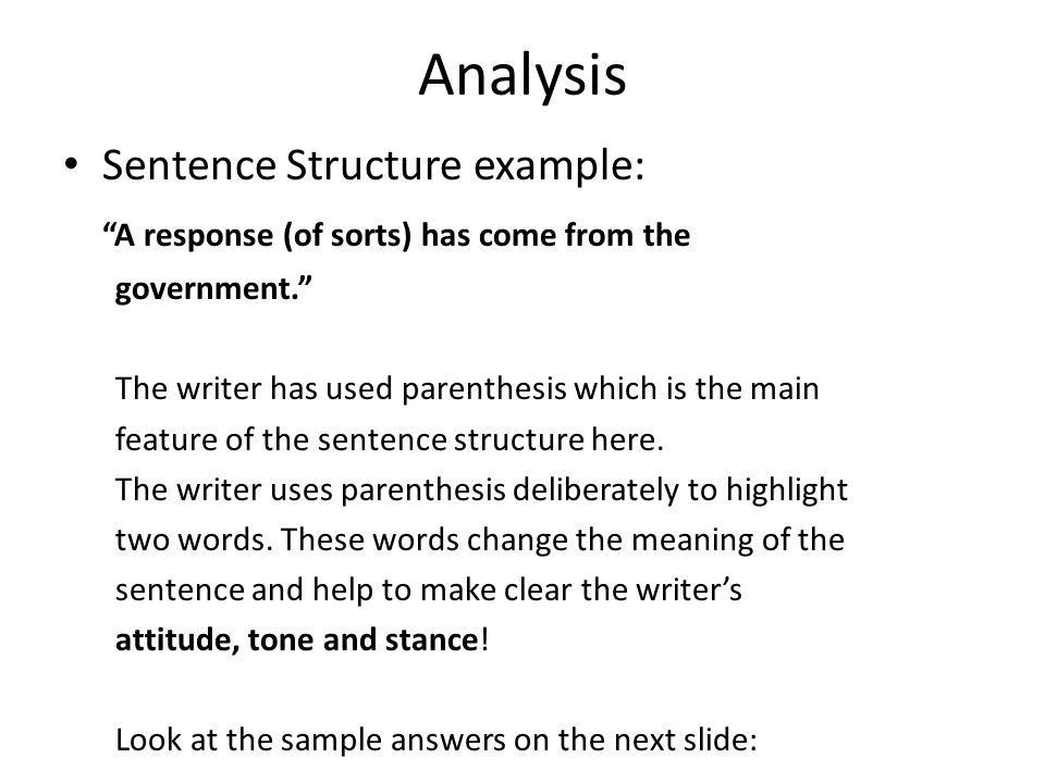 Analysis Analysis Questions Ask You To Look At The Features Of
