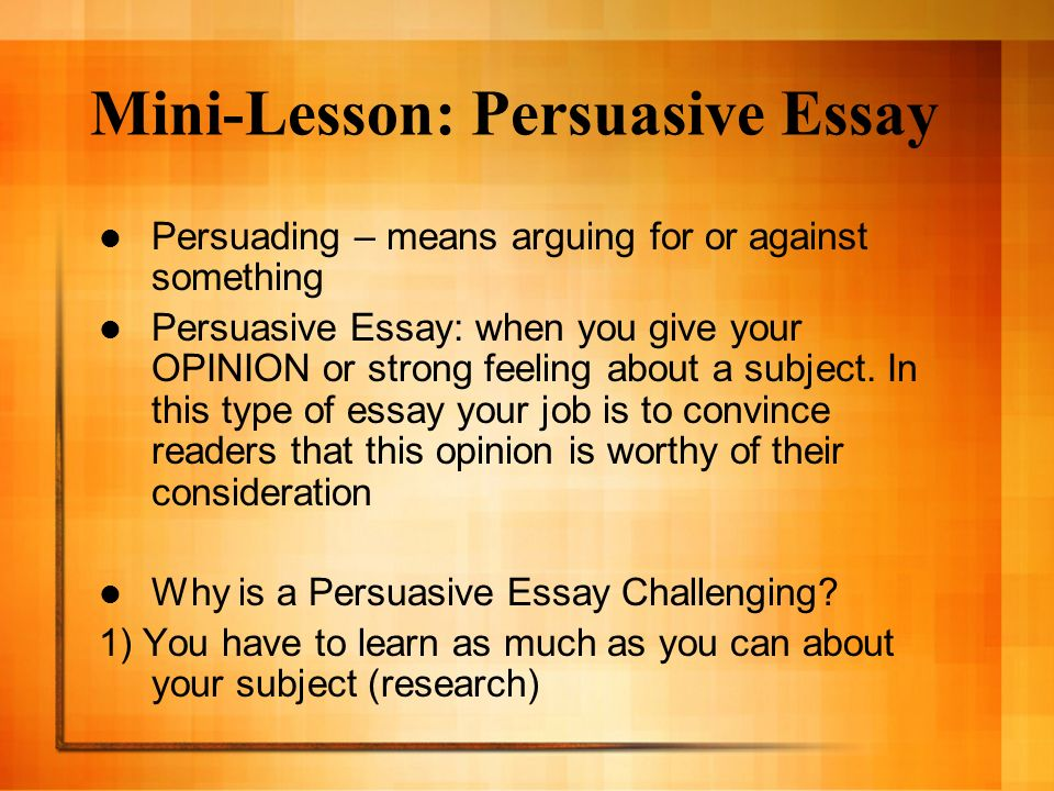 Lessons on persuasive essays