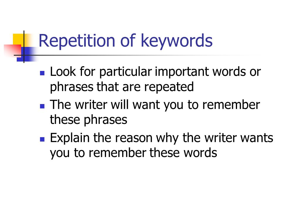 Repetition of keywords