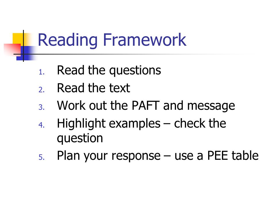 Reading Framework Read the questions Read the text