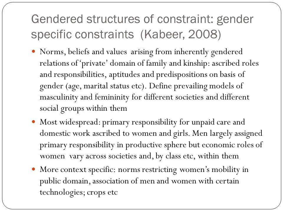 Gendered structures of constraint: gender specific constraints (Kabeer, 2008)