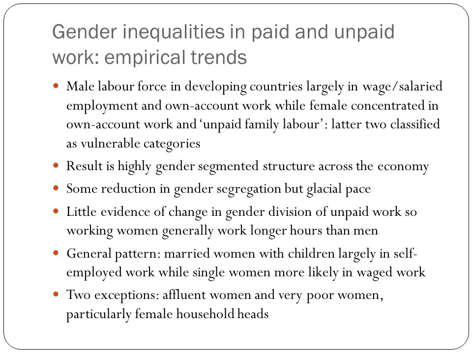 Gender inequalities in paid and unpaid work: empirical trends