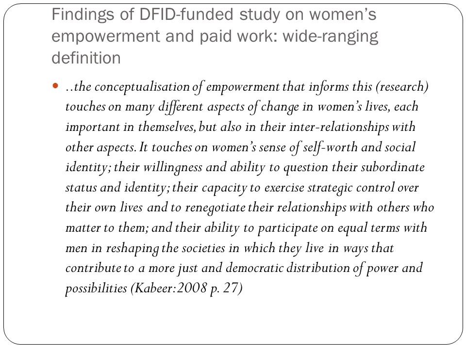 Findings of DFID-funded study on women's empowerment and paid work: wide-ranging definition
