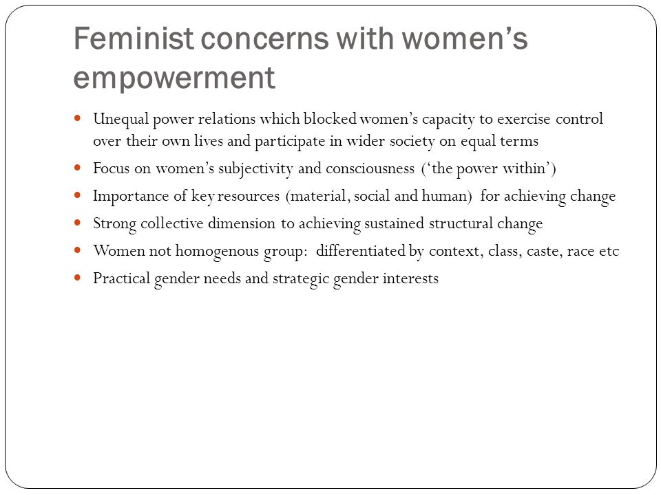 Feminist concerns with women's empowerment