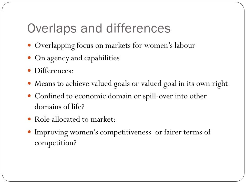 Overlaps and differences