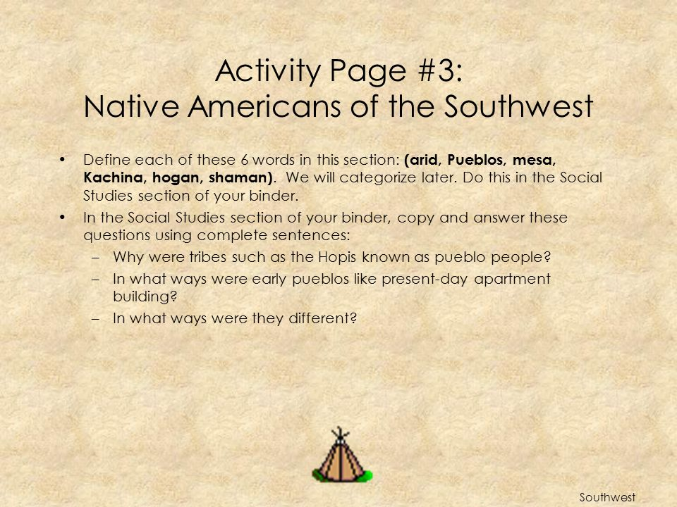 Activity Page #3: Native Americans of the Southwest