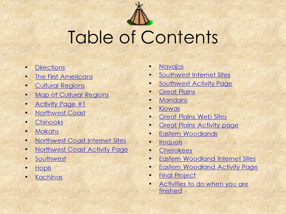 Table of Contents Directions The First Americans Cultural Regions