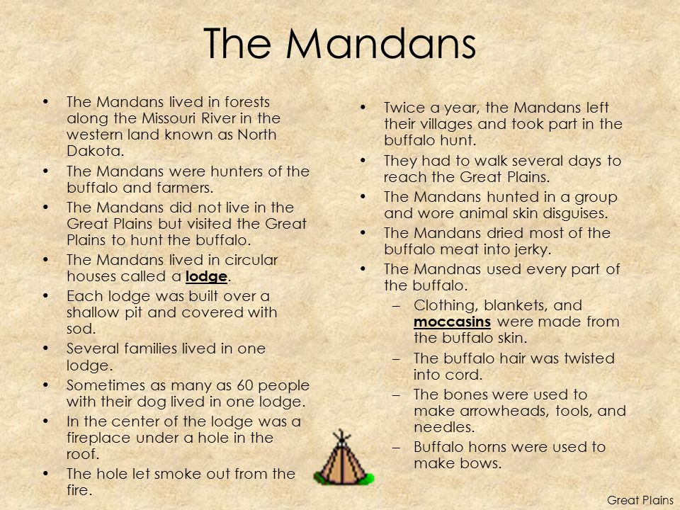 The Mandans The Mandans lived in forests along the Missouri River in the western land known as North Dakota.