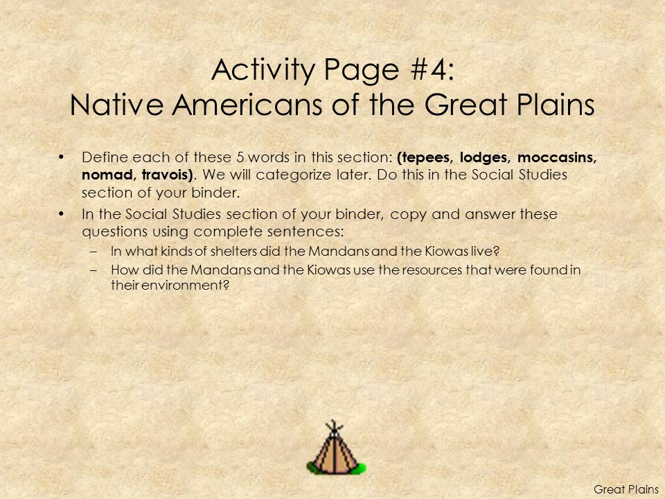 Activity Page #4: Native Americans of the Great Plains