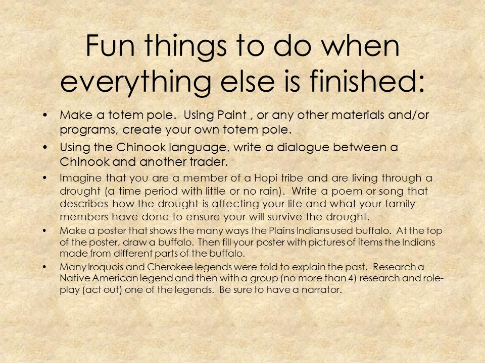 Fun things to do when everything else is finished: