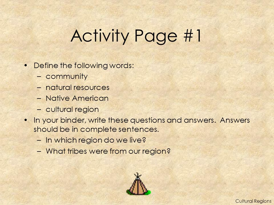 Activity Page #1 Define the following words: community