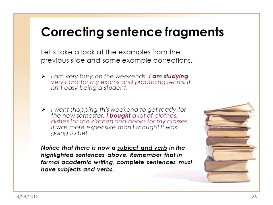 how to get rid of sentence fragments
