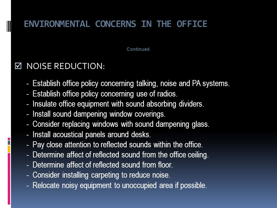 Ergonomics for the office ppt download for How to reduce noise from windows