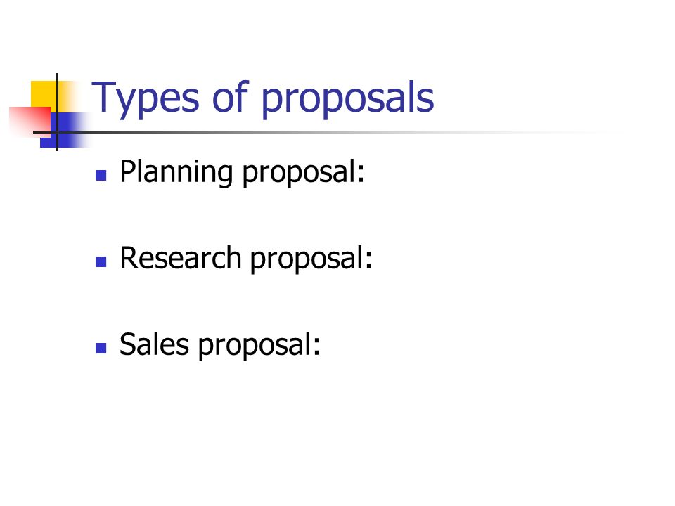types of research proposals Most of the research conducted at universities nationwide is performed with funds from federal or private sponsoring agencies that support research, training and public service through various types of agreements.