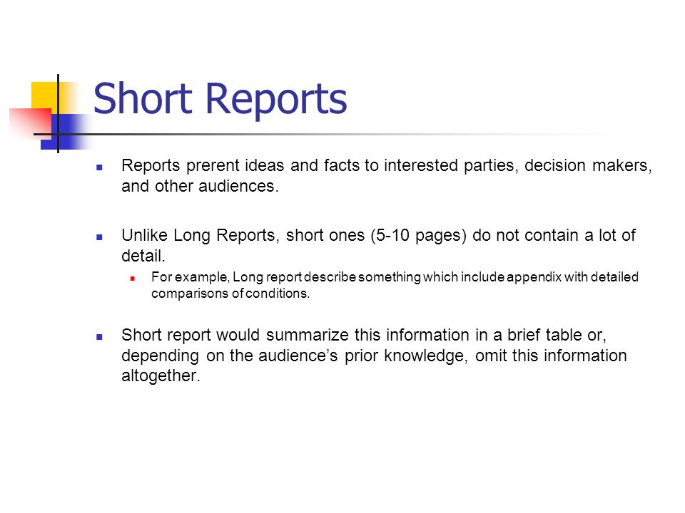 Short and Long Reports Proposals and How to Read Paper ppt download – Short Report Example