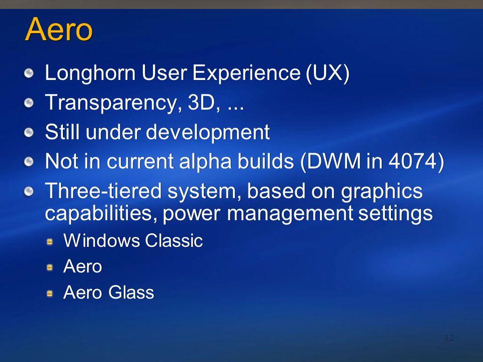 Aero Longhorn User Experience (UX) Transparency, 3D, ...