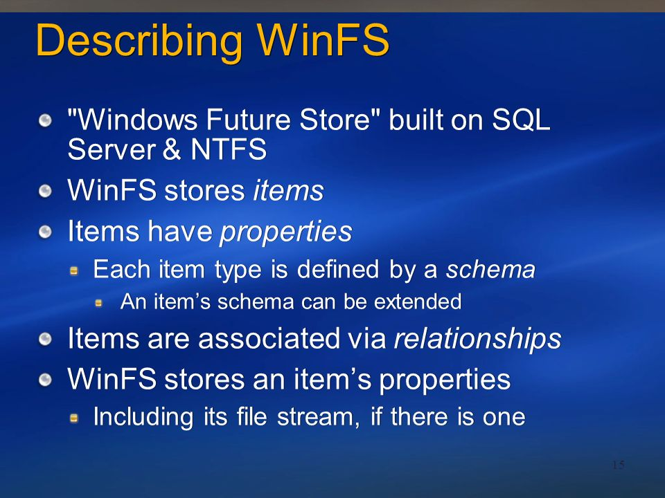 Describing WinFS Windows Future Store built on SQL Server & NTFS