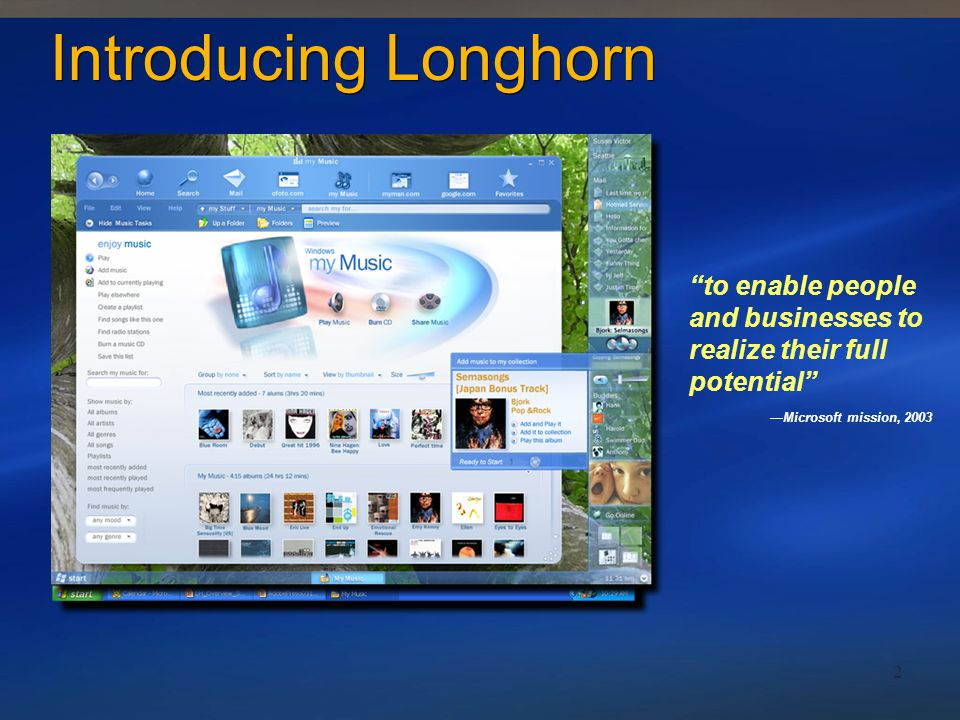 Introducing Longhorn to enable people and businesses to realize their full potential —Microsoft mission, 2003.