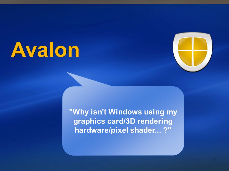 Avalon Why isn t Windows using my graphics card/3D rendering hardware/pixel shader...
