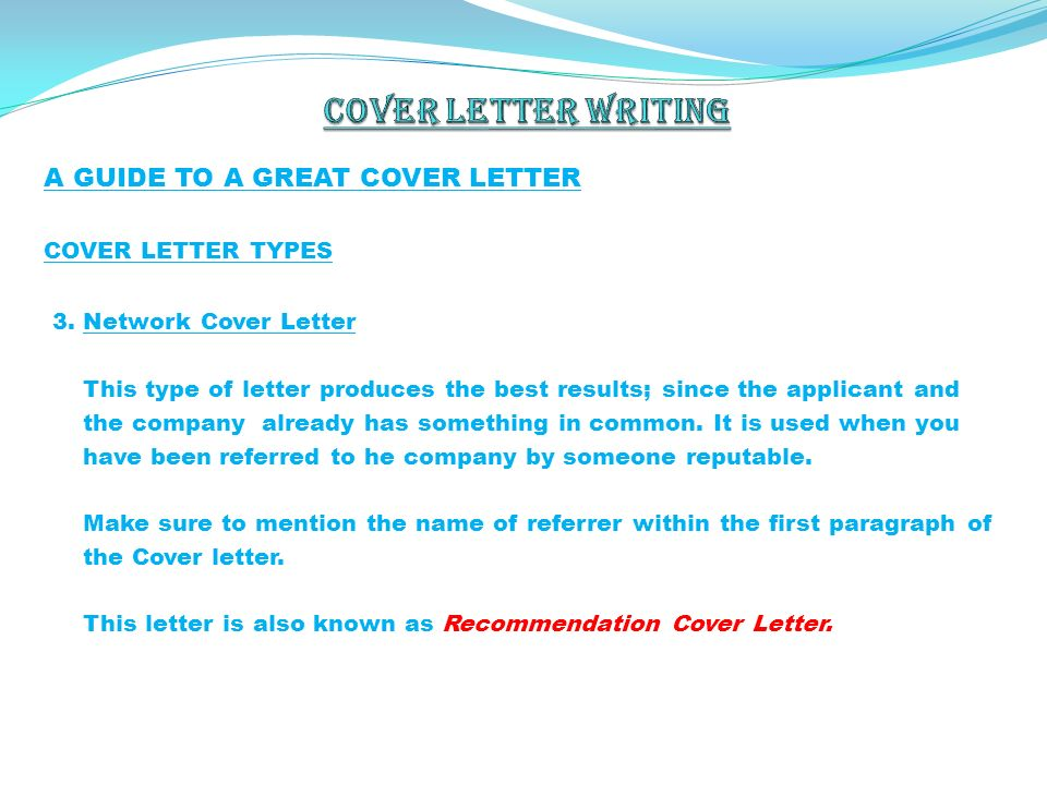 Referral Cover Letter Email ...